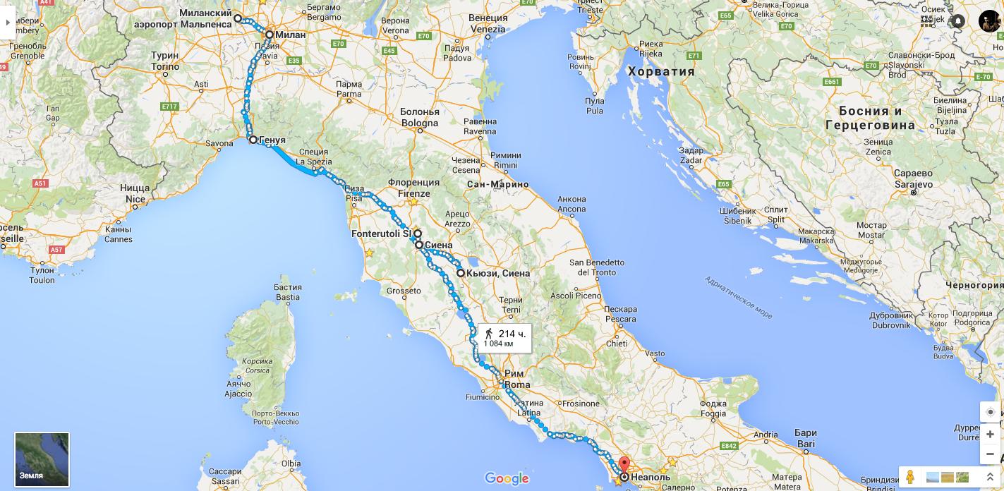маршрут по Италии на карте