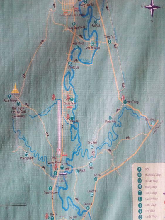 карта маршрутов Лаос