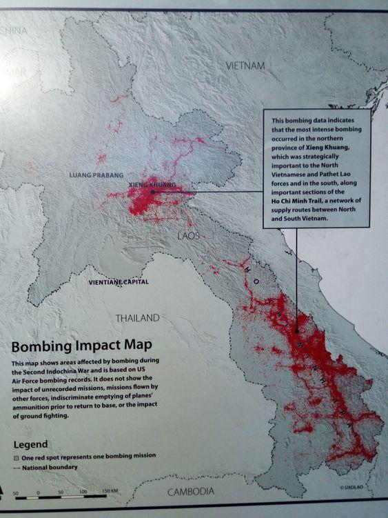 карта бомбежек Лаоса