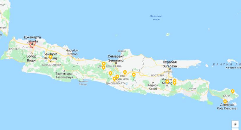 Джакарта на карте Явы