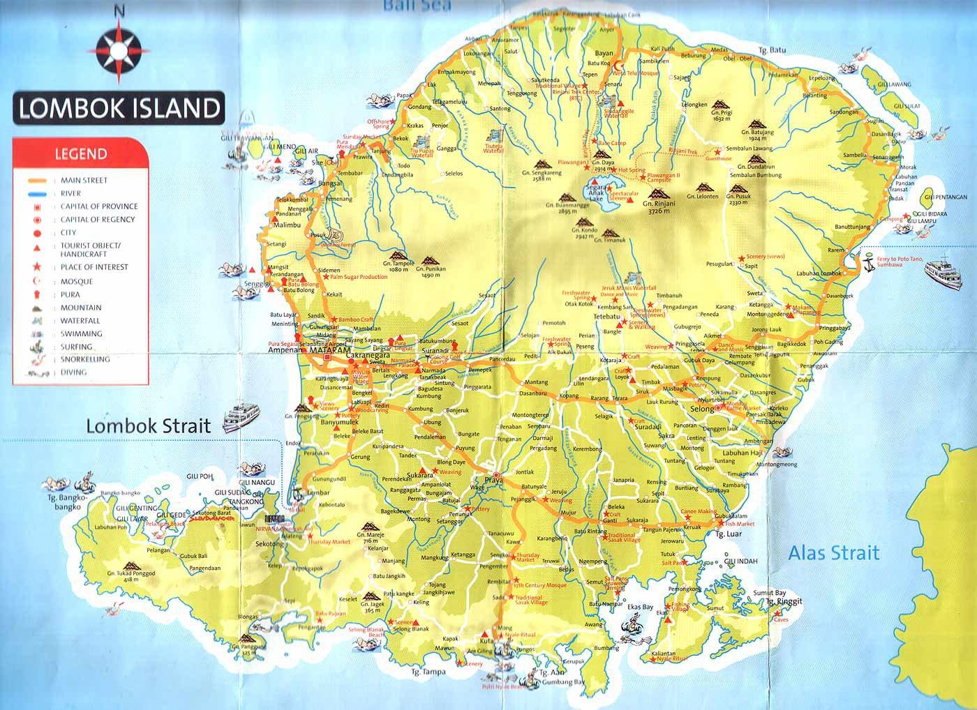 карта Ломбока
