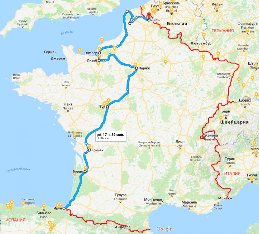 маршрут путешествия по Франции