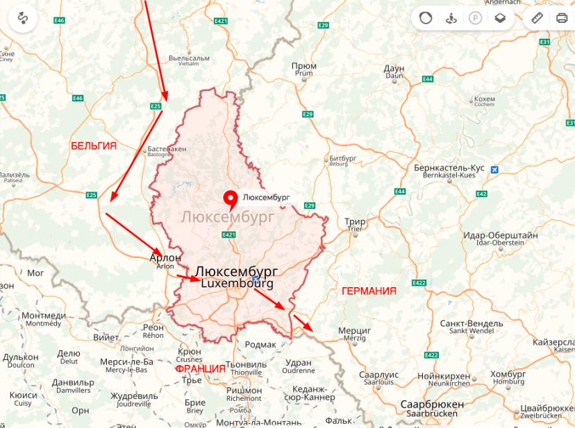 Люксембург на карте - мой маршрут