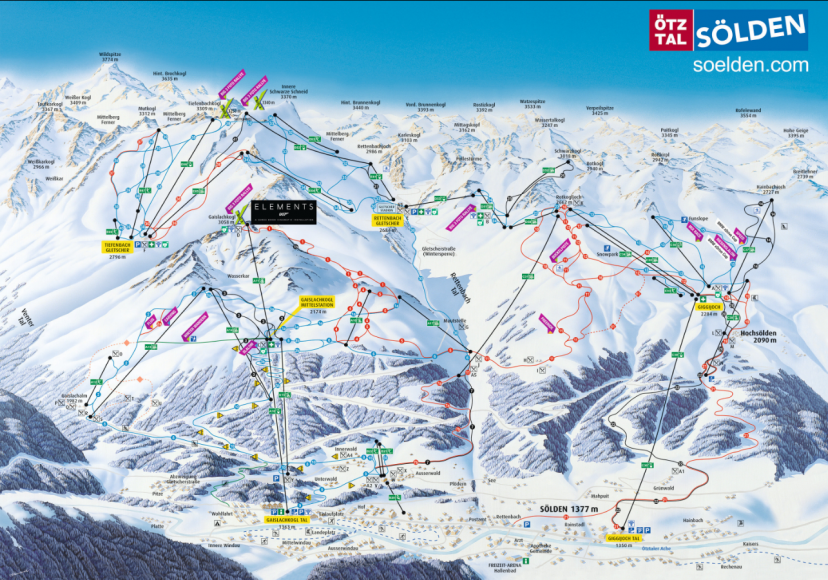 Полная карта Ski Zone Soelden