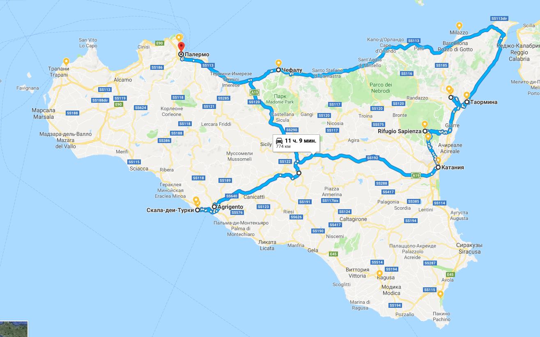 Карта путешествия по Сицилии